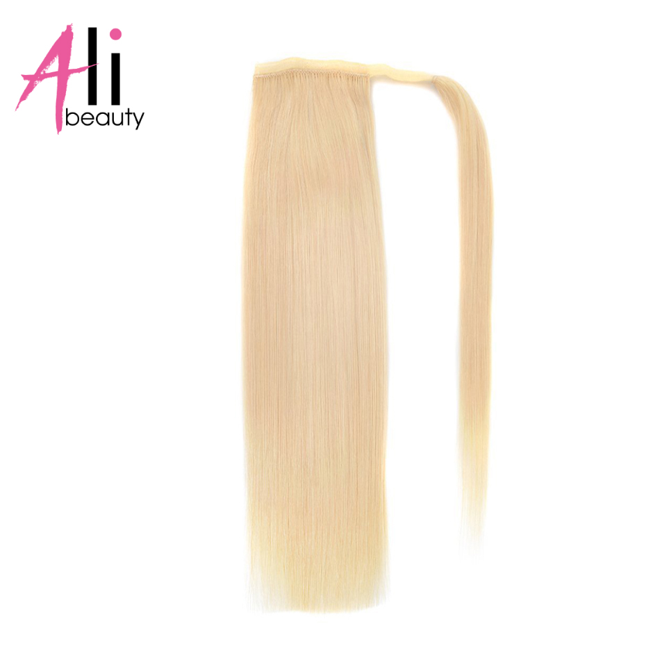 ALI BEAUTY Thick Human Hair Ponytail Wrap Around Horsetail Clips In Straight Machine Made Remy Hair
