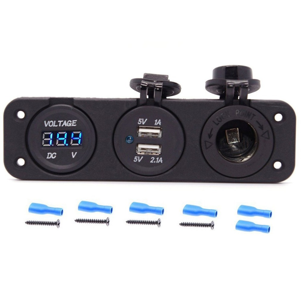 Image 4 - 12V Dual USB Charger Socket & LED Voltmeter 3 Hole Panel Outlet Car Boat Marine-in Cigarette Lighter from Automobiles & Motorcycles