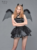 Halloween Sexy Black Devil Short Dress Fashion Bar Show Skirt Vampire Bat Suit Cosplay Costume