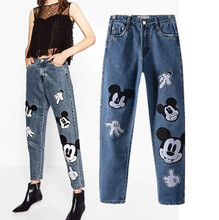 Freeshipping jeans woman jeans 2017  European and American wind cute mickey embroidery jeans fashion and personality jeans pants