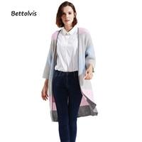 2017 Autumn Women Long Cardigans Three Quarter Sleeve Open Stitch Knit Sweater Cardigans Stripe Hit Color