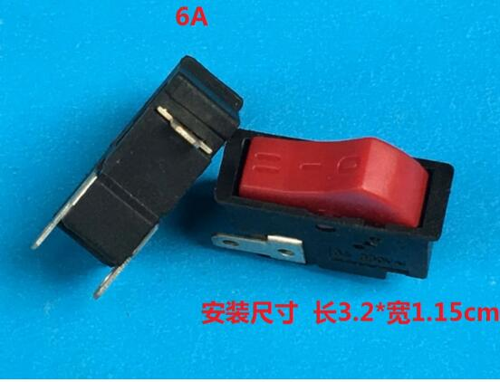 3 gears red Rocker switch hair dryer use switch  6A 250V installation size 3.2X1.15CM g126y 2pcs red led light 25 31mm spst 4pin on off boat rocker switch 16a 250v 20a 125v car dashboard home high quality cheaper