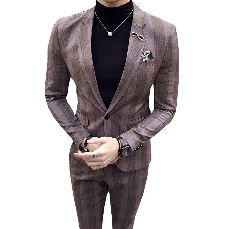 Grandes para Hombre a cuadros traje tobillo longitud traje Homme Mariage café raya azul cheque elegante Trajes De Hombre Novio Traje a cuadros para los hombres