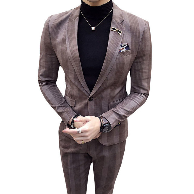 Grandes para Hombre a cuadros traje tobillo longitud traje Homme Mariage  café raya azul cheque elegante 6a4b4e6a182