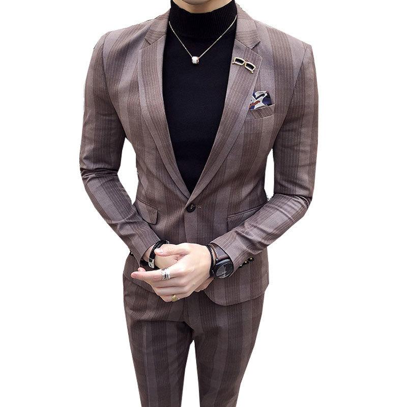 Здесь продается  Mens Big Plaid Suit Ankle Length Costume Homme Mariage Cofee Blue Stripe Check Elegant Trajes De Hombre Novio Plaid Suit For Men  Одежда и аксессуары