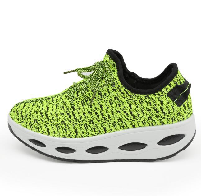 Новинка года; стильные женские кроссовки на платформе; спортивная обувь на танкетке для женщин; дышащая обувь для свинга; обувь для фитнеса; прогулочная обувь - Цвет: QJ-605 Green