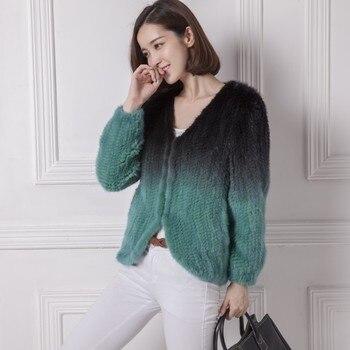 2014 mink fur short design knitted outerwear girls 1