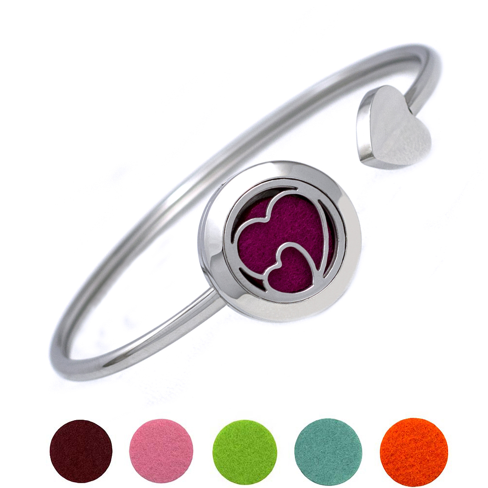 316L Stainless Steel Heart Cuff Essential Perfume Locket Bracelets Open Aromatherapy Diffuser Bracelet Bangle for Women