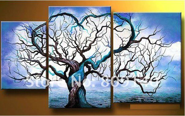 Oil Painting Canvas Couple Love Tree Modern Abstract Blue