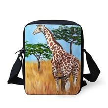 Купить с кэшбэком Cross Body Bag Giraffe Printing Messenger Bags for Men Women Hot Brand Small Cross Body Bags for Ladies Mens Travel Bags