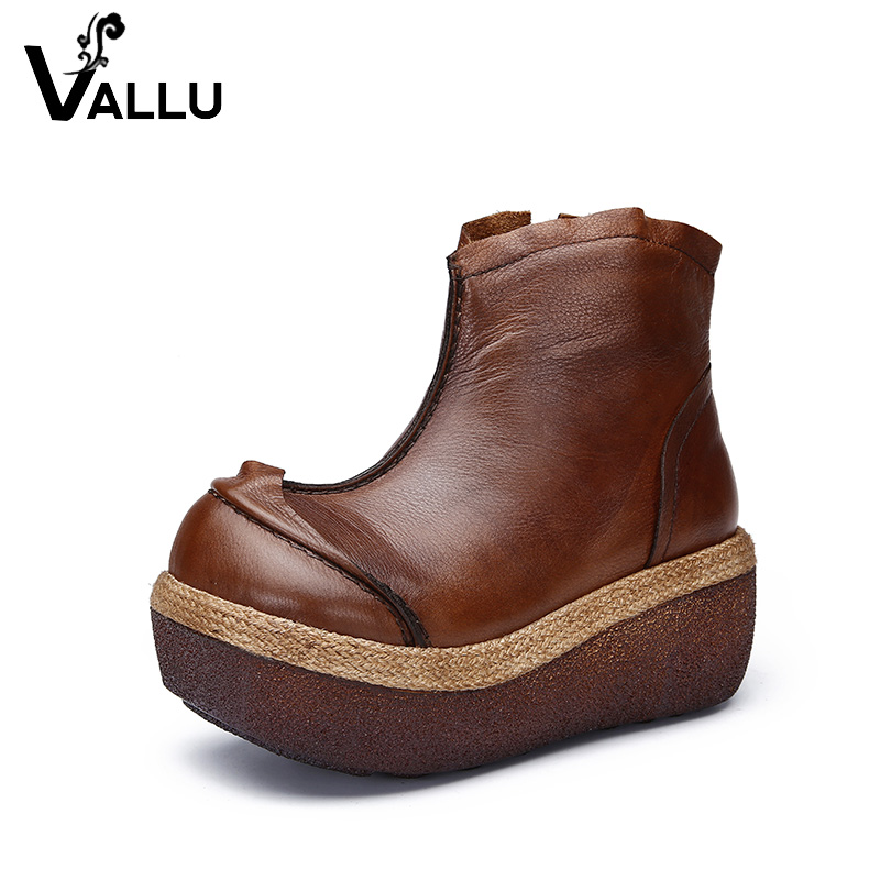 2018 VALLU Original Design Natural Leather Women Boots Wedges Platform Round Toes Handmade Vintage Shoes Female Ankle Boots