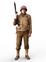 Crazy King1/16 resin figure soldier American infantry GK hand white mold 239