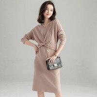 New Arrival Autumn Winter Vestidos Long Sleeve Women Sweater Dress Elegant V neck Casual Slim Bodycon Pencil Knitted Dresses