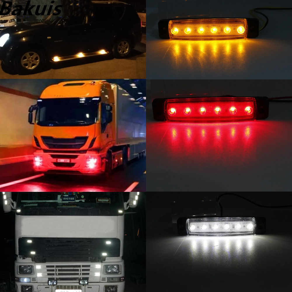 10X 12V Side Marker Indicators Lights 6 LED AMBER//WHITE for Truck Bus Trailer