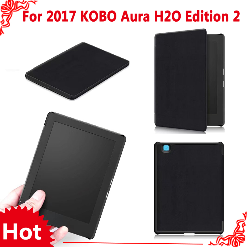 PU Leather Cover Case For 2017 new Kobo aura H2o edition 2 eReader 6.8 Tablet + free 3 gifts cover case for kobo aura one 7 8 inch ebook reader magnetic pu leather case screen protector film stylus pen