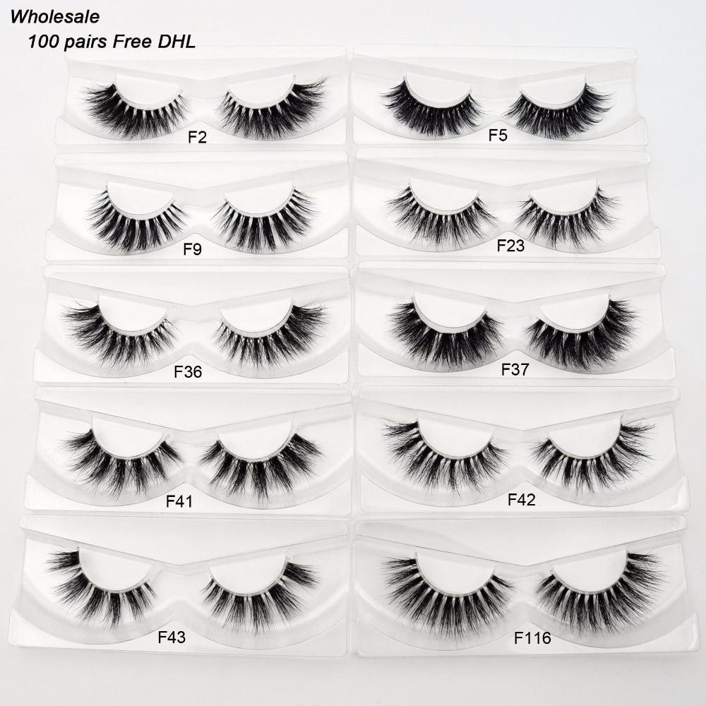 Free DHL 100Pairs Visofree Eyelashes 3D Mink Lashes Invisible Band Mink Eyelashes 17Style Cruelty Free Reusable Lashes Wholesale-in False Eyelashes from Beauty & Health