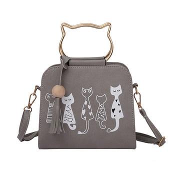Women's Cat Printed Top-Handle Bags