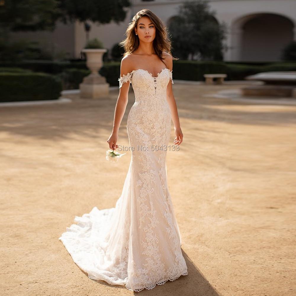 Sweetheart Mermaid Wedding Dresses 2020 Exquisite Lace Appliques Bridal Gowns Long Off Shoulder Formal Bride свадебные платья