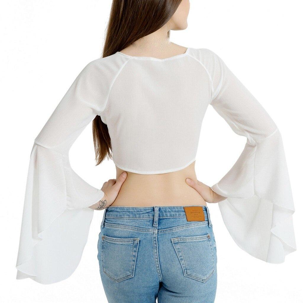 2019 Ombligo Corto Koszule Moda De Trompeta Mangas Con Camisa Damskie Blanco Gasa V Profundo Mujeres En Cuello Sexy Verano Las U7ZTOnx7