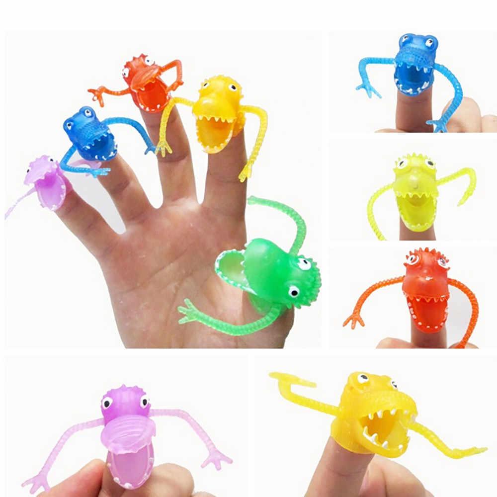 10 pçs/set Dedo Fantoches de Dedo Brinquedos do Dinossauro de Plástico Mini Toy Kids Brinquedos do Aperto Squishy Lento Subindo CollectionZ04