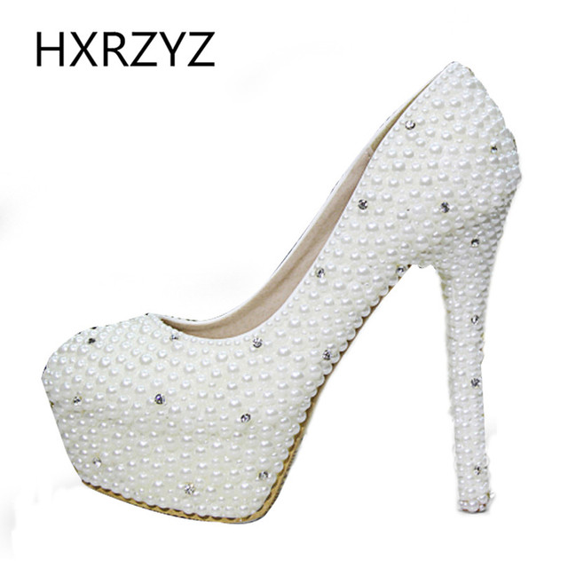 women shoes ladies luxury pearl crystal diamond wedding shoes Waterproof platform bridal shoes and high-heeled dress shoes pumps