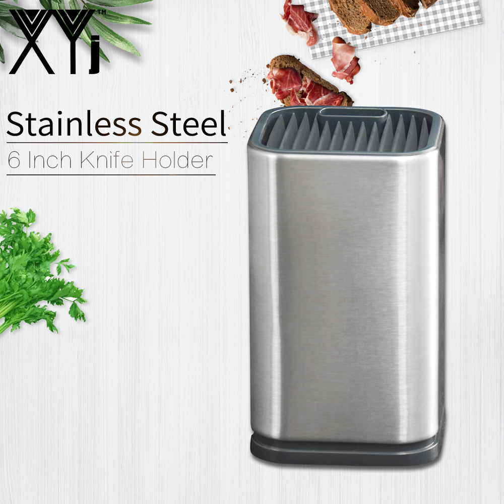 XYj 6'' Knife Holder Stainless Steel Kitchen Knife Stand Restaurant Hotel Helper Large Capacity Security Cooking Accessory Tools