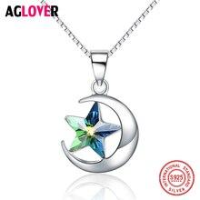 925 Sterling Silver Necklace Star Austrian Crystal Jewelry Cubic Zircon Fashion Necklaces Pendants For Women Best Friend Gift недорого