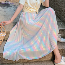 HLHPYHB Sparkling Rainbow Pleated Skirt Girlish Elascity High Waisted Flare