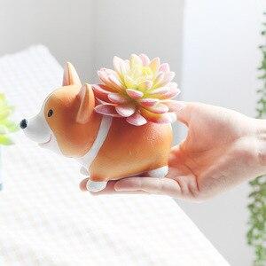 Image 4 - Creative Cute Cartoon Corgi Dog Flowerpot Resin Succulent Planter Cactus Home Office Decoration Garden Supplies Christmas Gift