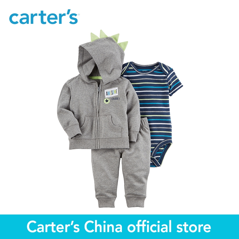 Carter's 3-Piece baby children kids clothing Boy Spring & Fall Little Jacket Set neon 3D spike on the hood 121I382