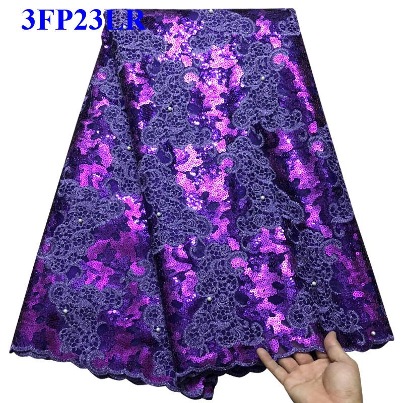 Beaded Lace Fabrics 2018 Purple African Lace Fabric High Quality sequins French Nigerian Lace Fabric For