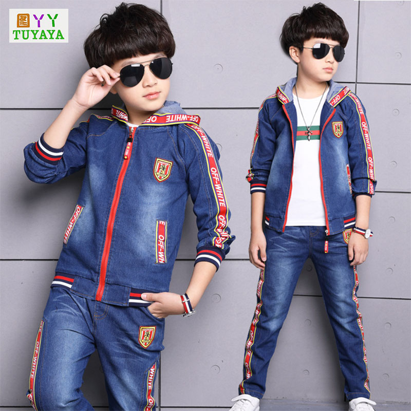 2018 New Letter Baby Toddler Sport Clothes Suit Kids Clothing Set Cotton Boy Clothes Denim Jeans Coat+Pants 2PCS Boys Tracksuit t shirt tops cotton denim pants 2pcs clothes sets newborn toddler kid infant baby boy clothes outfit set au 2016 new boys