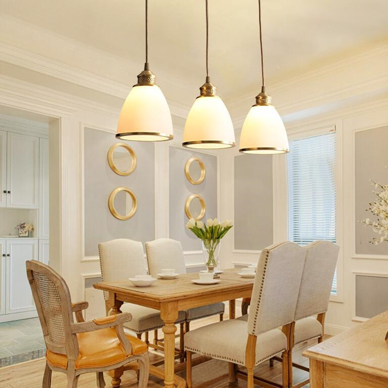 Luminaria 3 Heads American Village Copper LED Glass Hanging Lighting For Restaurant Bedroom Study Home Deco Pendant Lamp Fixture