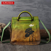 Guangzhou Factory Original Brand Design Tote Bags Vintage Leather Handbags Handmade Woman Bags with Painting Flower Metal Handle
