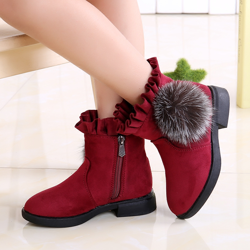 Girls boots 2018 children's snow boots Princess Booties with velvet winter new children's shoes baby plus cashmere cotton shoes