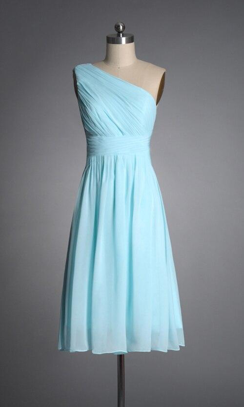 Short light blue bridesmaid dresses one shoulder elegant for Blue green wedding dress