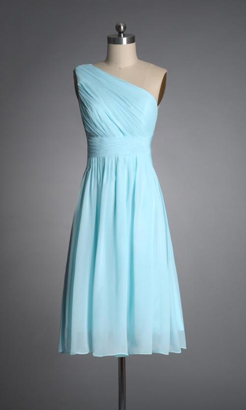Short light blue bridesmaid dresses one shoulder elegant for Short light blue wedding dress