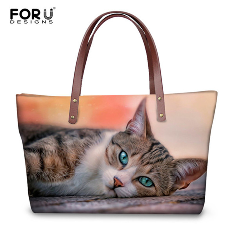 FORUDESIGNS Casual Women's Handbags Lovely Animal Cat 3D Print Large Tote Bags for Female Shoulder Messenger Bags Top-handle Bag forudesigns black cat bags for women messenger bag 2018 girls handbag cheap canvas shoulder bags summer beach casual tote bags