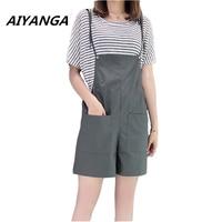 3 Color Big Size Strap Shorts Women Sets Loose Short Sleeve Striped Tops Pocket Solid Playsuit