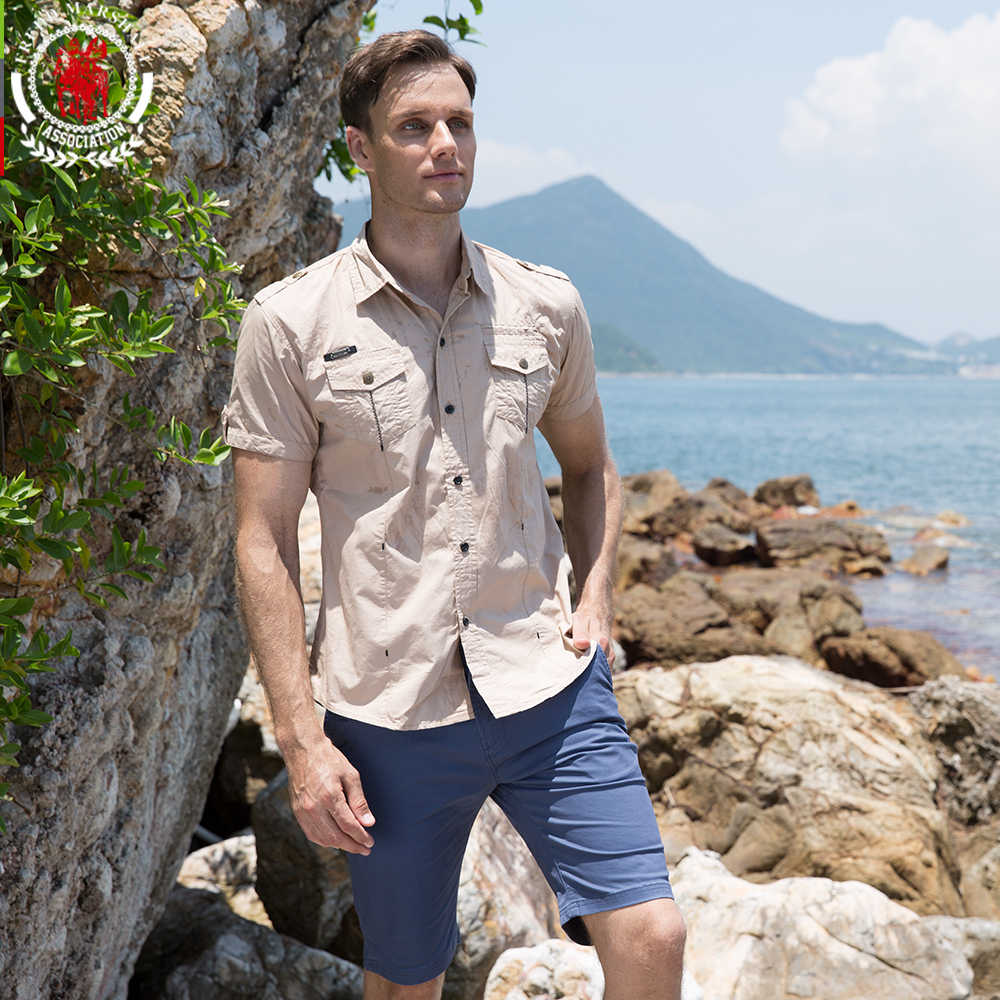 Men's Shirt 2019 New Men Cargo Shirt Fashion Casual Shirt Summer Style 100%  Cotton Solid Mens Casual Shirt Plus Size S-3XL 55888