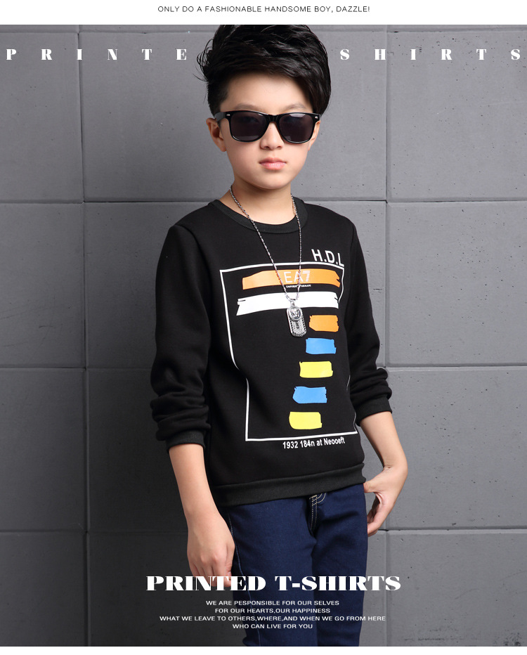 Free shipping 2016 autumn and winter models boy child long sleeve shirt plus thick velvet warm