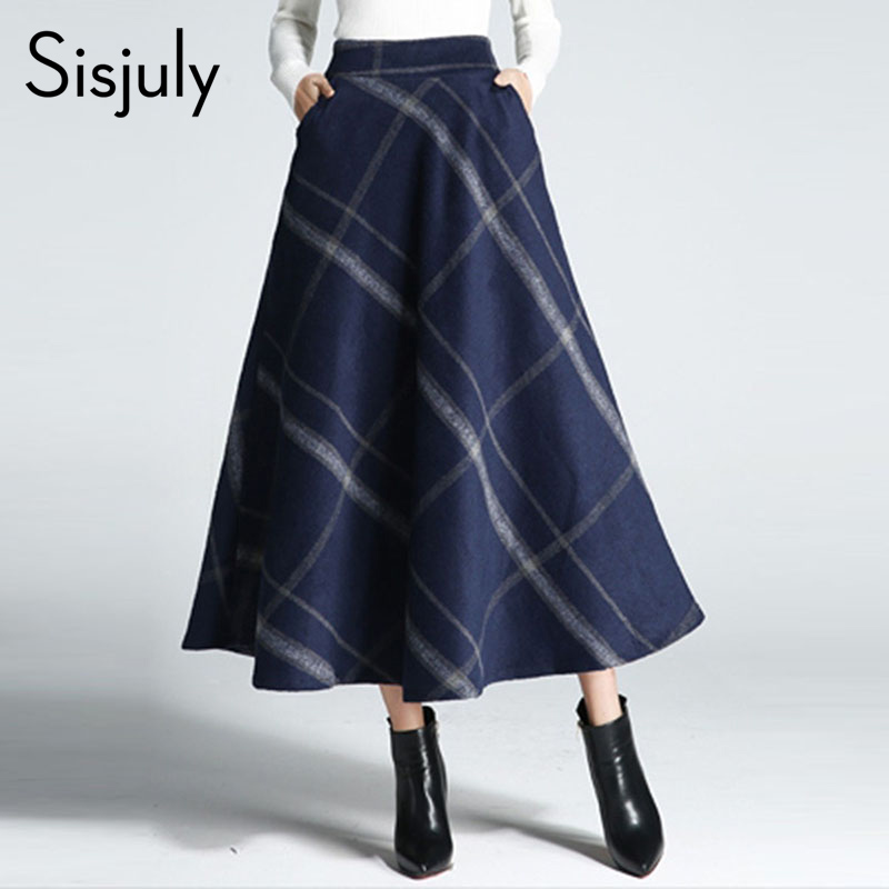 Sisjuly Women Skirts Winter Thick Spring Wool Blends Plaid Elegant Pleated Patchwork Chic Girl Pocket Print Long Skirts Female