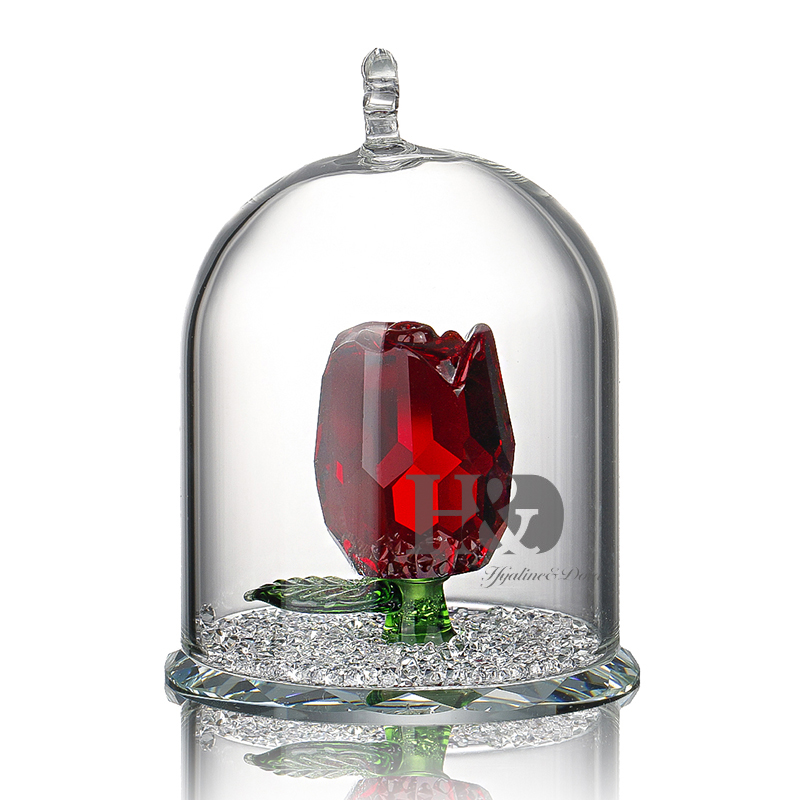New Beauty and the Beast Rose Glass Crystal Enchanted Rose in Terrarium Pendant Valentines Day Souvenir Lover's Gift