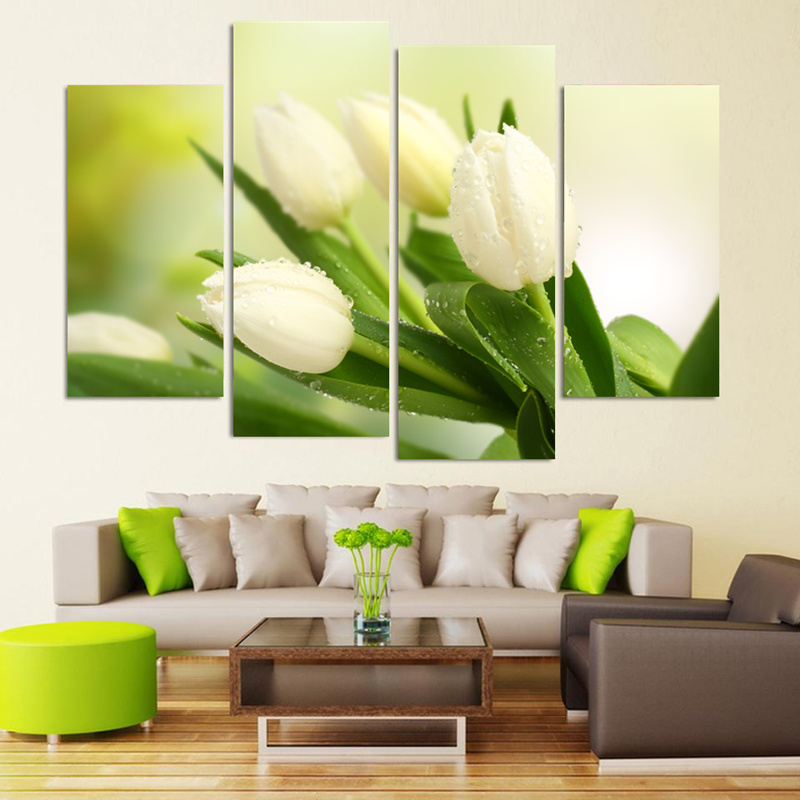 4 Piece White Tulip Flower HD Wall Modular Picture