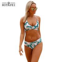 Hotapei Swimwear Leaf Print Cross Top Bikini Women Push Up Padded Bra Bandage Bikini Set Swimsuit