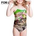 Gatos Impresso Maiô para o Bebê Gilrs Floral Verde 3a-8a Corda Flor Kawaii Kitty One Piece Beachwear Bathsuit para As Crianças