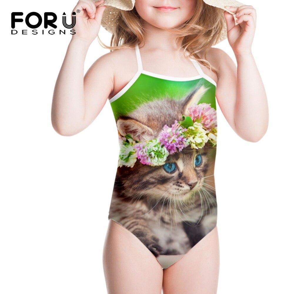Gilrs verde pisici florale imprimate de costume de baie pentru copii - Imbracaminte sport si accesorii