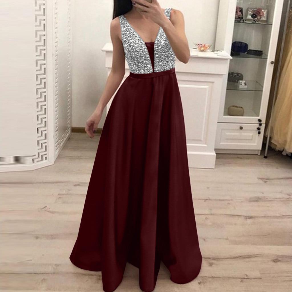 Maxi Dress Plus Size Dress Women 2019 Vestidos De Festa Sequin Jurken Sleeveless V-neck Long Evening Red Party Dress Trendyol Z4(China)