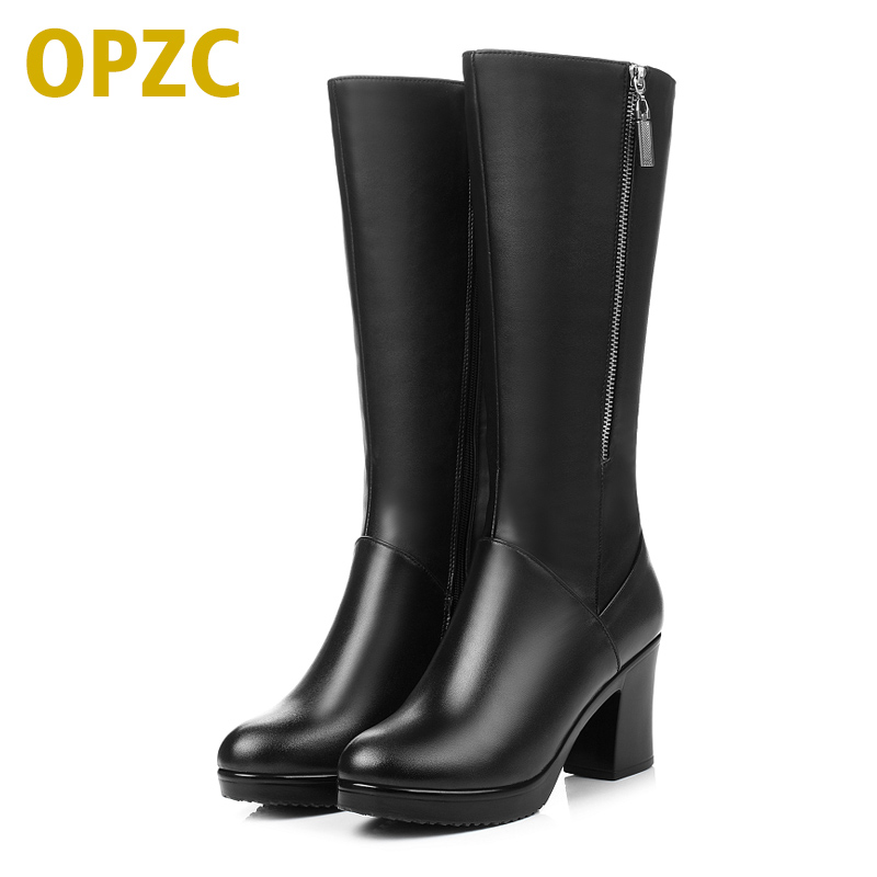 2017 New Women Winter Boots Genuine Leather boots high-heeled women long boots wool lined warm snow boots Lady Fashion shoes 2017 new women s genuine leather boots motorcycle boots rough with in tube high heeled boots thick wool really pima ding