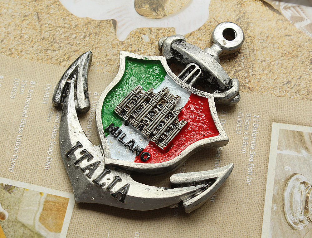 Italy Milan Tourist Travel Souvenir Anchor Shaped 3D Resin Fridge Magnet Craft